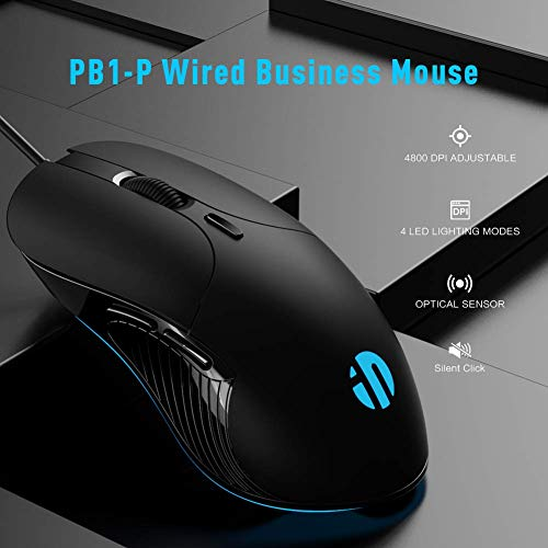 Inphic Gaming Mouse, with 6 Programmable Buttons, Silent Click, 4800DPI Adjustable, Ergonomic Design, 4 Breathing LED Backlight, Wired Quiet Mouse for PC Laptop Computer Working & Gaming
