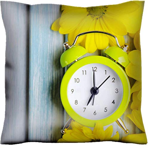 MSD Handmade 30x30 Throw Pillow case Polyester Satin Pillowcase Decorative Soft Pillow Covers Protector Sofa Bed Couch Image ID 27405326 Clock and Beautiful Flowers on Blue Wooden Background (Msd Square Clock)