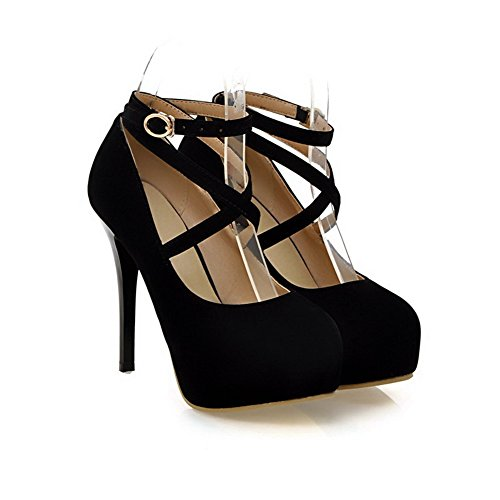 VogueZone009 Womens Round Toe Spikes Stilettos PU Rubber Frosted Solid Pump Shoes with Platform Platform, Black, 2.5 UK