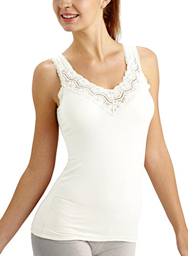 ANNY Women's Lace V Neck Cami Tank Top White Size S -