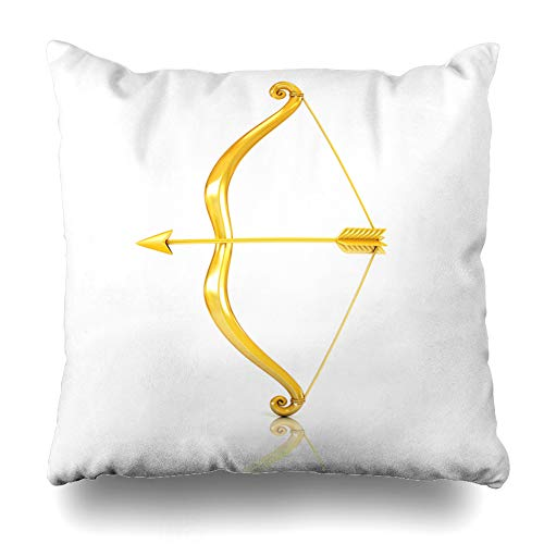 Ahawoso Throw Pillow Cover Cherub Cupid Golden Bow Arrow Abstract Eros Angel Gold Heart Ancient Design Sharp Home Decor Cushion Case Square Size 20