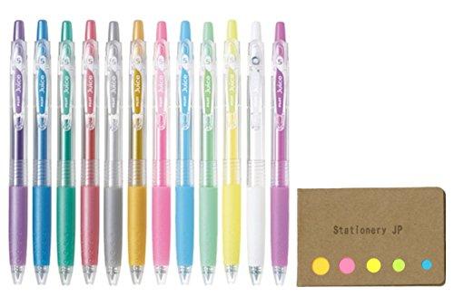 Pilot Juice 05 Retractable Gel Ink Pen, Extra Fine Point, 0.5mm, Pastel & Metalic, 12 Colors, Sticky Notes Value Set