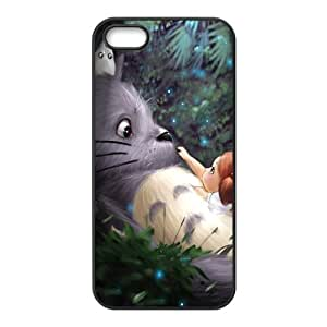 MeowStore Japanese Cartoon Cute Fat Totoro Night Forest Phone Case For Iphone 5 5s Black