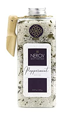 Beauty Care Wear Natural Bath Sea Salt Infused with Real Peppermint Leaves - 20 Ounces- with Wooden Scoop