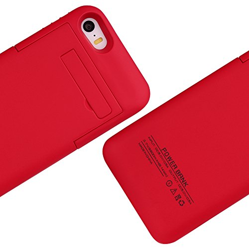 Btopllc 2200mAh for iPhone 5/5S Battery Battery Case Back Up Power Bank,Portable Extended Power Case, External Battery Charger Backup Protector Cover Case (Red)