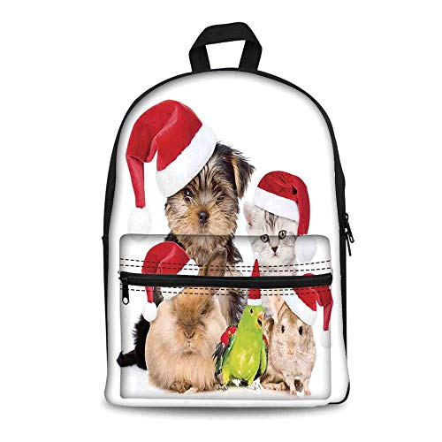 Christmas Stylish Canvas School Bag,Xmas Crew Cat Dog Bird Mouse and Rabbit Bunny with Santa Hats Grumpy Pets Picture for School Travel,11.4