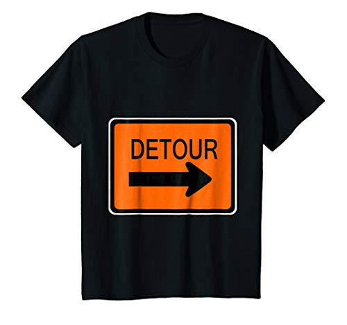 Kids Detour Sign Simple Easy Halloween Costume T-Shirt 6 Black ()