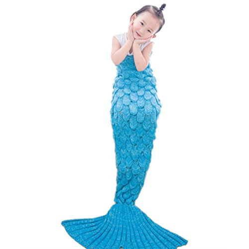 Scaly Mermaid Tail Blanket Girls Dressing Up Toys Handmade Knitted Living Room Sofa Throws Perfect Birthday Gifts for any Girls 55.18 inch x 27.56 inc…