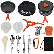 Bisgear 12-17Pcs Camping Cookware Stove Carabiner Canister Stand Tripod Folding Spork Set Outdoor Camping Hiki