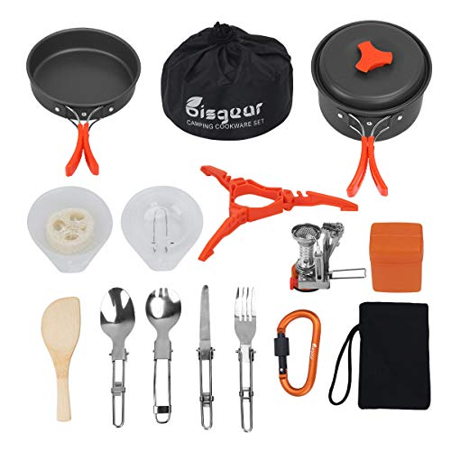 Bisgear 12-17Pcs Camping Cookware Stove Carabiner Canister Stand Tripod Folding Spork Set Outdoor Camping Hiking Backpacking Non-Stick Cooking Picnic Knife Spoon Wine Opener (17 pcs(Orange))