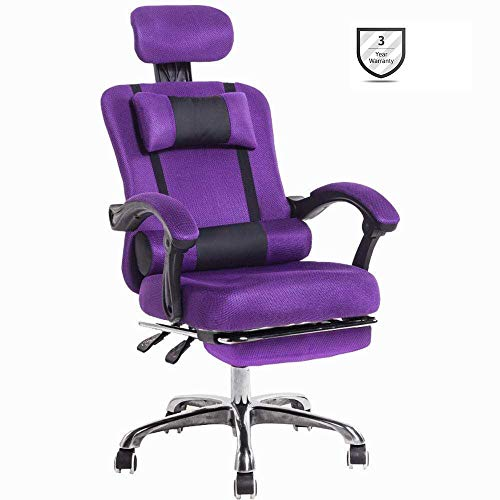 ZBYY Sillas De Oficina Ergonomica Silla Gaming Altura Ajustable Silla Resistente Rotacion por 360° para El Hogar Y La Oficina,Purple