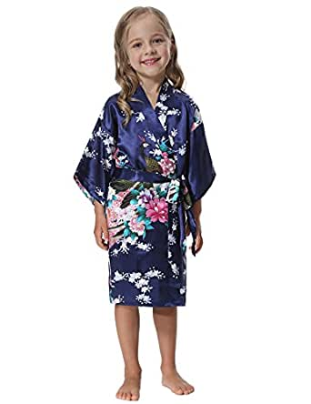 Image Unavailable. Image not available for. Color  Aibrou Girls  Peacock Satin  Kimono Robe ... b5bbcdb32