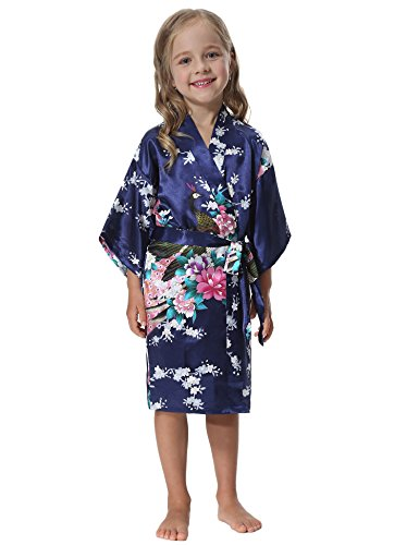 Flower Girl Pajamas Wedding (Aibrou Girls' Peacock Satin Kimono Robe Bathrobe Nightgown For Party Wedding,6,Dark)