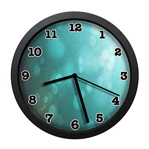 jiushiyigezi-n Sunshine Turquoise Individuality Modern Wall Clock, Silent Non-Ticking Quartz Wall Clock for Living Room School Office 10in with Frame