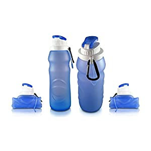 Collapsible Travel Water Bottle (2 PACK) - Foldable Silicone Design for Compact Outdoor/Indoor Use