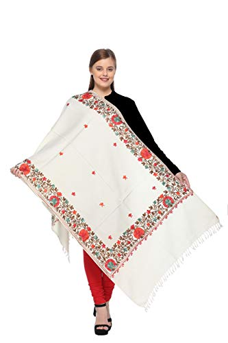 Kashmiri Embroidery Indian Shawl Stole Scarf Wrap for Wedding Parties Bridesmaid Prom (Off White, 28 inch x 80 inch) by The MadhuSudan Gallery