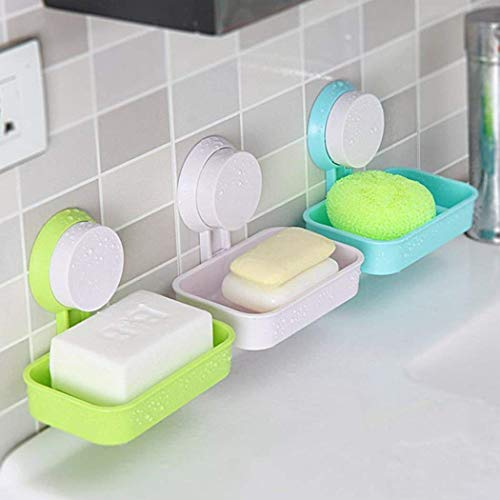 Mix Vogue Sucker Soap Box Vacuum Soap Holder Suction Plastic Soap Dish for Shower (White)