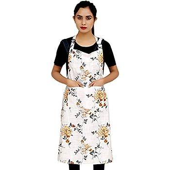 Ruvanti Chef Apron for Women .100% Cotton Cute Kitchen Aprons with Pockets Plus Size (28 X 36