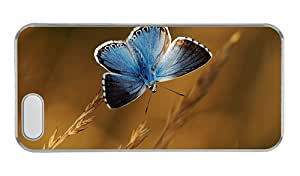 Customized iphone 5 personalize covers Blue butterfly plants bokeh PC Transparent for Apple iPhone 5/5S