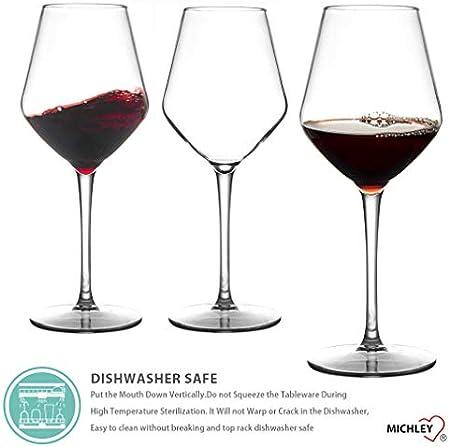 MICHLEY Irrompible Copas de Vino Tinto, 100% Tritan-plástico Copas Vino Cristal, 425 ML BPA y EA Gratis Vaso de Vino