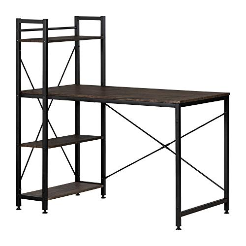 South Shore 12114 Evane Industrial Desk with Bookcase, Cracked Fall Oak