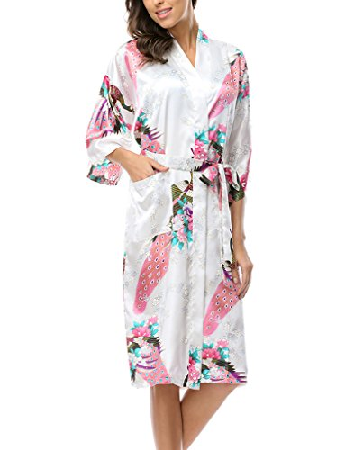(CHENXI Sexy Kimono Robe Japanese Yukata OBI Cosplay Dress Vintage Sleepwear White)