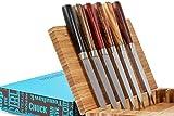 La Cote 6 Piece Steak Knives Set Japanese Stainless Steel Wood Handle In Bamboo Storage Box (Pakka Wood - Zebra)