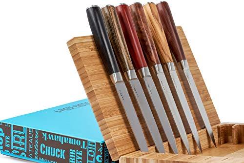 La Cote 6 Piece Steak Knives Set Japanese Stainless Steel Exotic Wood Handles In Bamboo Storage Box (6 PC Steak Knife Set -Exotic Wood)