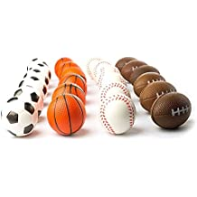 Tytroy 12 Pack Mini Sports Party Favor Balls Basketball Football Soccer Baseball Anxiety Relief Foam Balls