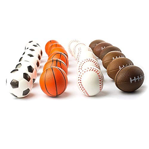 Tytroy 12 Pack Mini Sports Party Favor Balls Basketball Football Soccer Baseball Anxiety Relief Foam Balls