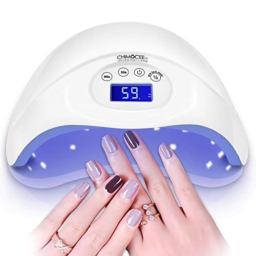 48W UV Nail Lamp, CHIMOCEE Nail Dryer with Automatic Sensor and Switch for Both Fingernails or Toenails, Professional UV Light for Gel Nails with Timer Setting for Salon or Nail Lovers