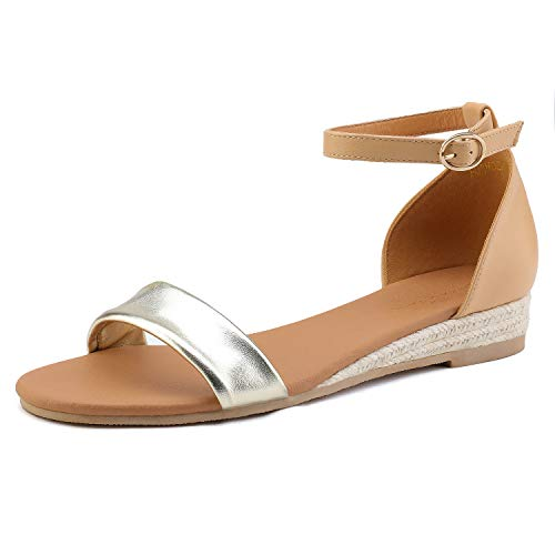 DREAM PAIRS Women's Gold Nude Ankle Strap Sandals Low Wedge Sandals Size 10 M US -