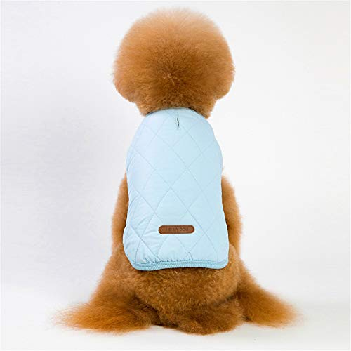 Jdogayncat Pet Clothing, Autumn and Winter Plaid Vest Plus Velvet Thick Versatile Jacket, Small and Medium Dog Clothes Lake Blue ()