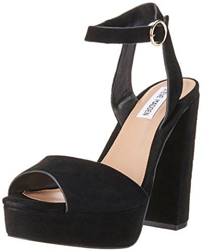 (Steve Madden Women's Madeline Heeled Sandal, Black Suede, 9 M US)