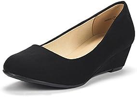 DREAM PAIRS Women's Debbie Mid Wedge Heel Pump Shoes