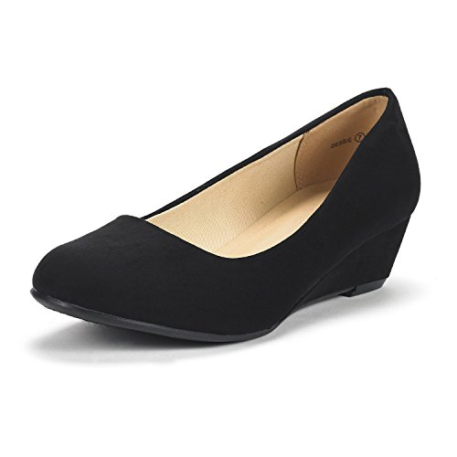 (DREAM PAIRS Women's Debbie Black Suede Mid Wedge Heel Pump Shoes - 7 M US)