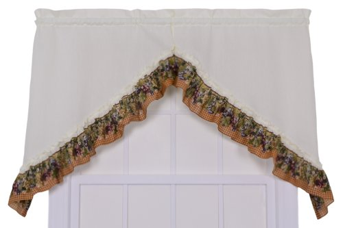 Ellis Curtain Kitchen Collection Tuscan Hills Grapes 60 by 35-Inch Ruffled Swag Curtains, -