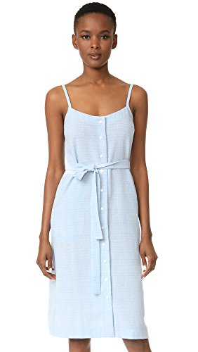 Dress Sleeveless Ali amp Belted Jay Frolicking Chambray Printed s Women Flower Plaid Midi aBgaf