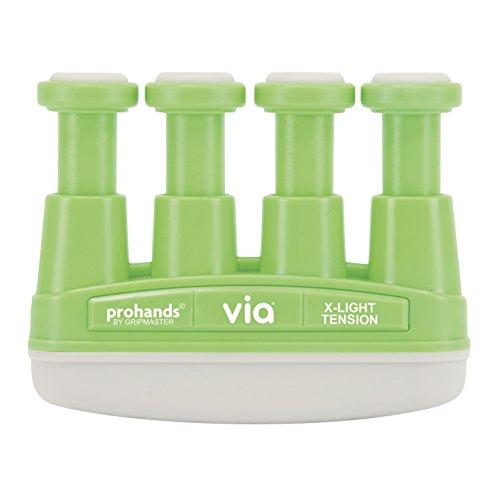 Prohands VIA Hand Exerciser, Finger Exerciser (Hand Grip Strengthener), Spring-Loaded, Finger-Piston System, Isolate and Exercise Each Finger, (2 lb X-Light Tension, Green-Via)