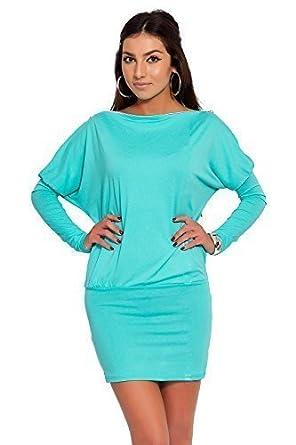 futuro fashion Glamourös Damen Minikleid mit Reißverschluss an der Schulter  langärmeliges Jersey Tunika Größen 8-18 UK 8440: Amazon.de: Bekleidung