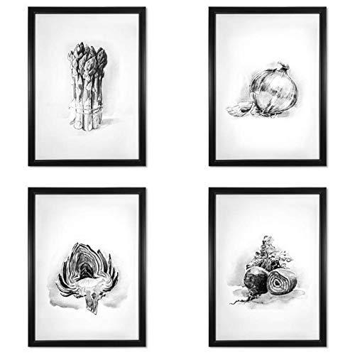 Amazon.com: Set of 4 wall decor | Vegetable print art ...