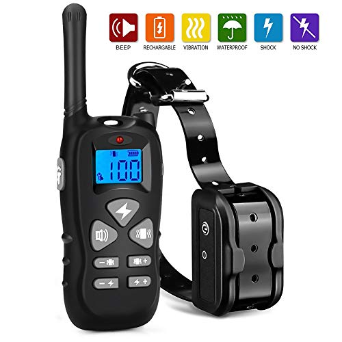 Shock Collar for Dogs 100% Waterproof and 500 Yards Dog shock Collar with Remote USB Charging Vibration Shock Levels 1-100 Dog Training Collar
