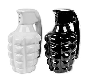 Hand Grenades - Ceramic Salt & Pepper Shaker Set (Black & White )