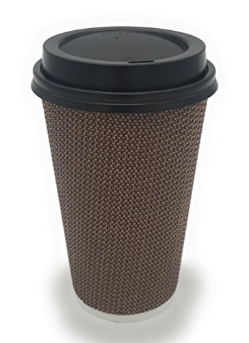 [340 COUNT] 16 oz Disposable Double Walled Hot Cups with Lids - No Sleeves needed Premium Insulated Ripple Wall Hot Coffee Tea Chocolate Drinks Perfect Travel To Go Paper Cup and lid Brown Geometric