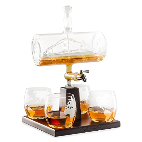 Brandy Set - Royal Decanters Sailing Ship - Perfect Gift Set - Stainless Steel Spigot Liquor Dispenser - 4 Etched World Map Glasses - for Brandy Tequila Bourbon Scotch Rum -Alcohol Related Gifts for Dad (1000ML)