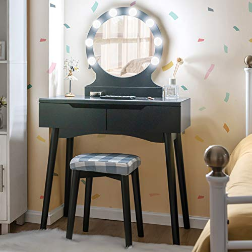 Giantex Giantex Vanity Set with Round Lighted Mirror, Makeup Dressing Table with 8 Light Bulbs and Brightness Adjustable, Bedroom Makeup Table with Cushioned Stool and 2 Sliding Drawers (Black)