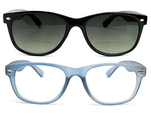 Bifocal Reading Glasses and Bifocal Sunglasses for Men and Women 2.5 Blue