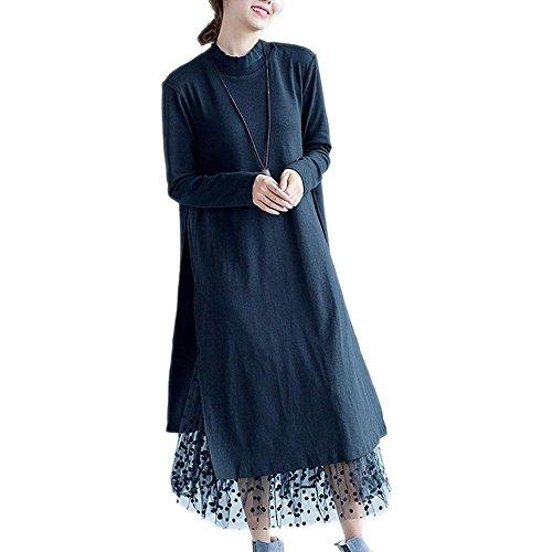 Nuan Jia Feng Nuevo otoño y el invierno mujeres de talla grande de grasa mm sección de largo era el vestido que basa doble suelta y cómoda delgada , black , one size Black