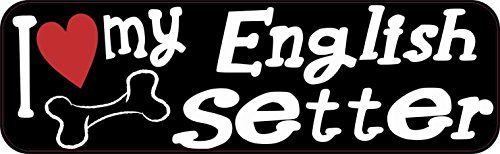 - 10in x 3in I Love My English Setter Bumper Sticker Vinyl Window Decal Stickers