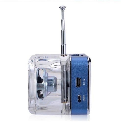 da usare a casa e in viaggio Andoer Mini lettore mp3//4 portatile con entrata SD//TF//USB Blu con radio FM e altoparlanti